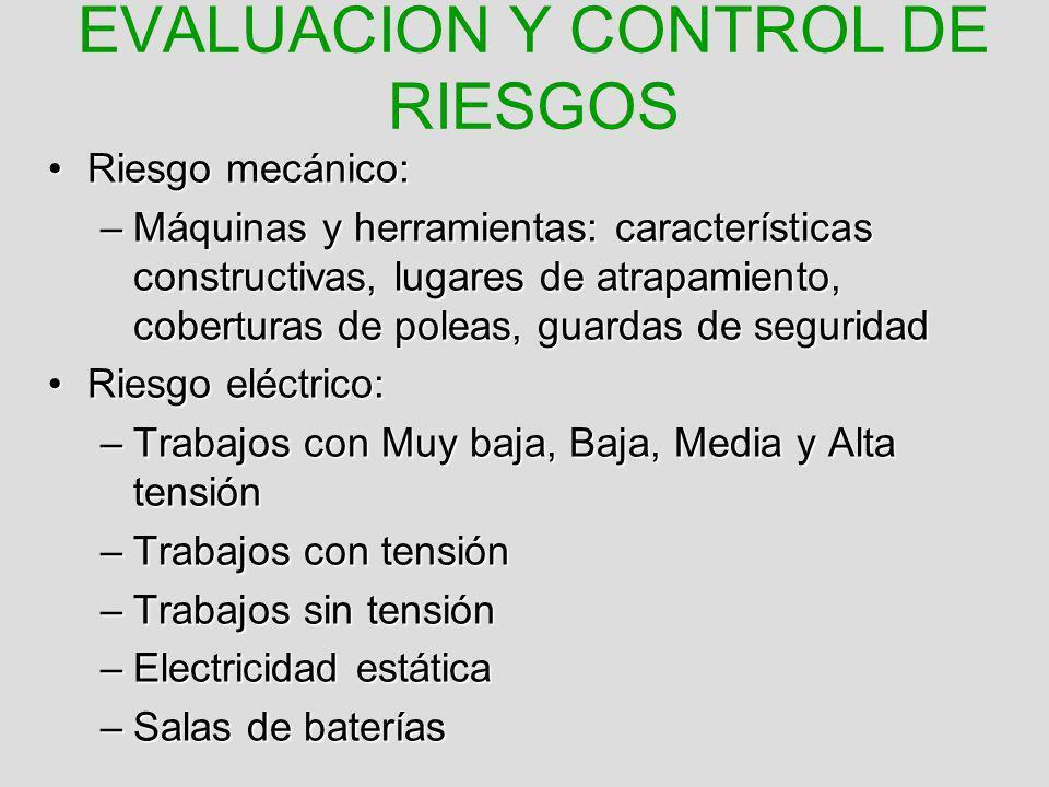 EVALUACION Y CONTROL DE RIESGOS Riesgo mecánico:Riesgo mecánico: –Máquinas y herramientas: características constructivas, lugares de atrapamiento, cob