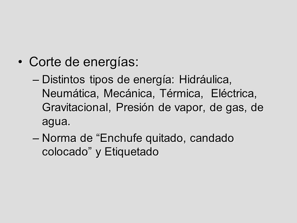 Corte de energías:Corte de energías: –Distintos tipos de energía: Hidráulica, Neumática, Mecánica, Térmica, Eléctrica, Gravitacional, Presión de vapor