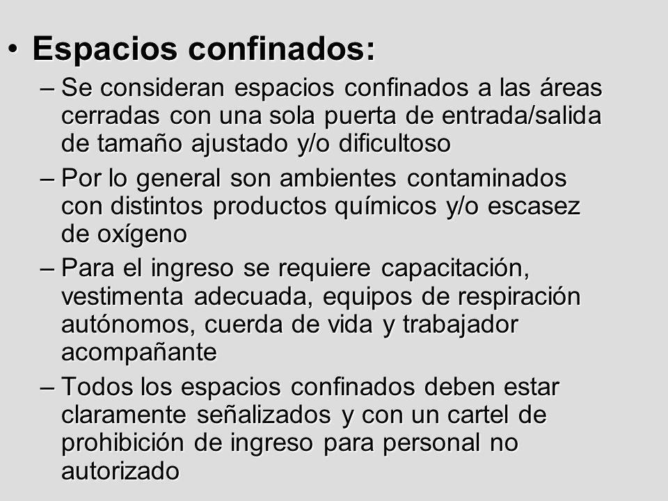 Espacios confinados:Espacios confinados: –Se consideran espacios confinados a las áreas cerradas con una sola puerta de entrada/salida de tamaño ajust
