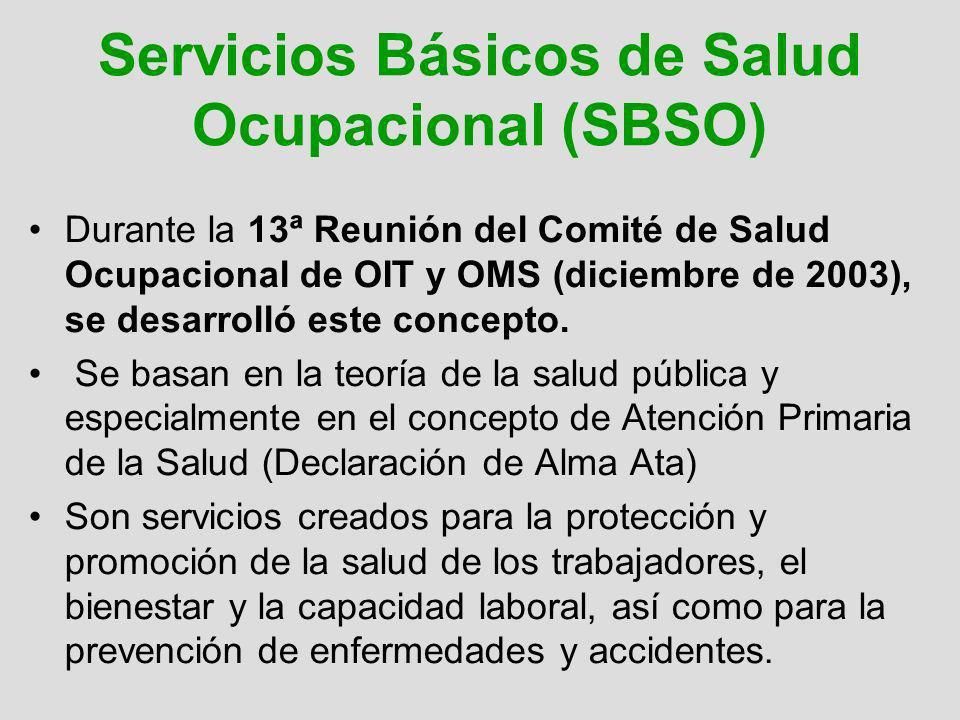 Servicios Básicos de Salud Ocupacional (SBSO) Durante la 13ª Reunión del Comité de Salud Ocupacional de OIT y OMS (diciembre de 2003), se desarrolló e