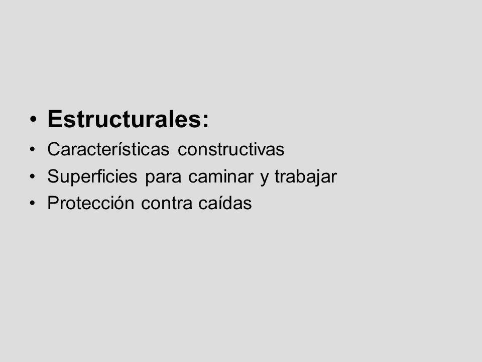 Estructurales: Características constructivas Superficies para caminar y trabajar Protección contra caídas