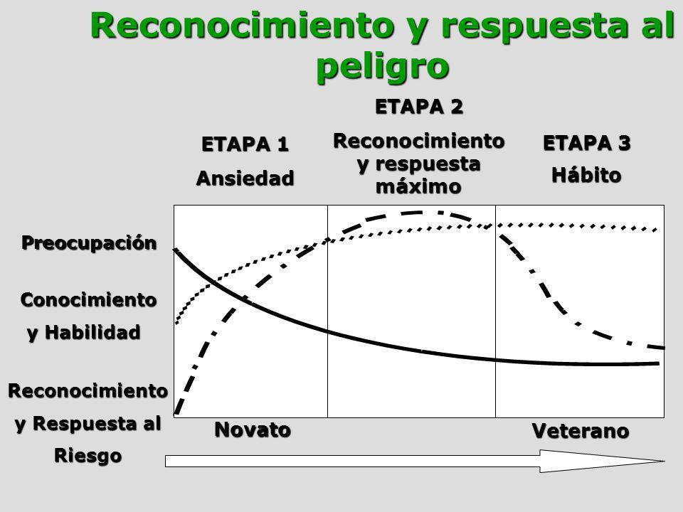 ETAPA 1 Ansiedad ETAPA 3 Hábito Preocupación Conocimiento y Habilidad y Habilidad Reconocimiento y Respuesta al Riesgo Novato Veterano ETAPA 2 Reconoc