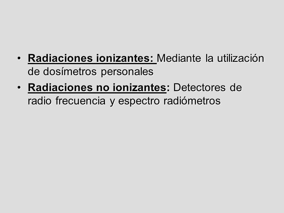 Radiaciones ionizantes: Mediante la utilización de dosímetros personalesRadiaciones ionizantes: Mediante la utilización de dosímetros personales Radia