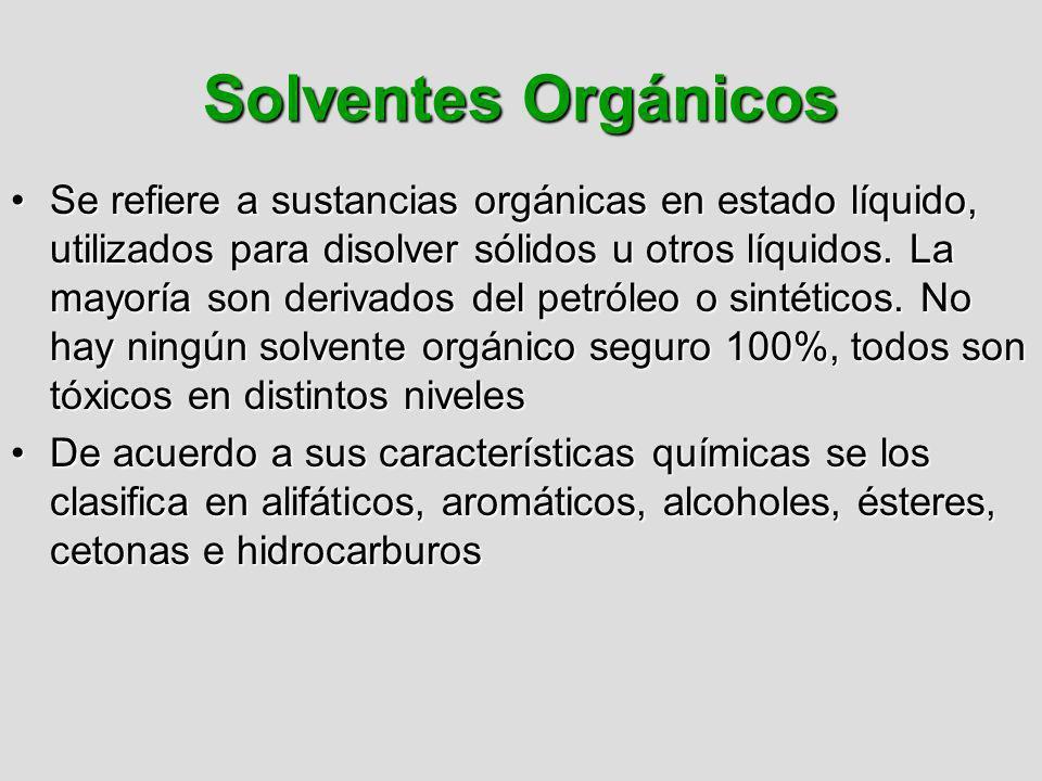Solventes Orgánicos Se refiere a sustancias orgánicas en estado líquido, utilizados para disolver sólidos u otros líquidos. La mayoría son derivados d