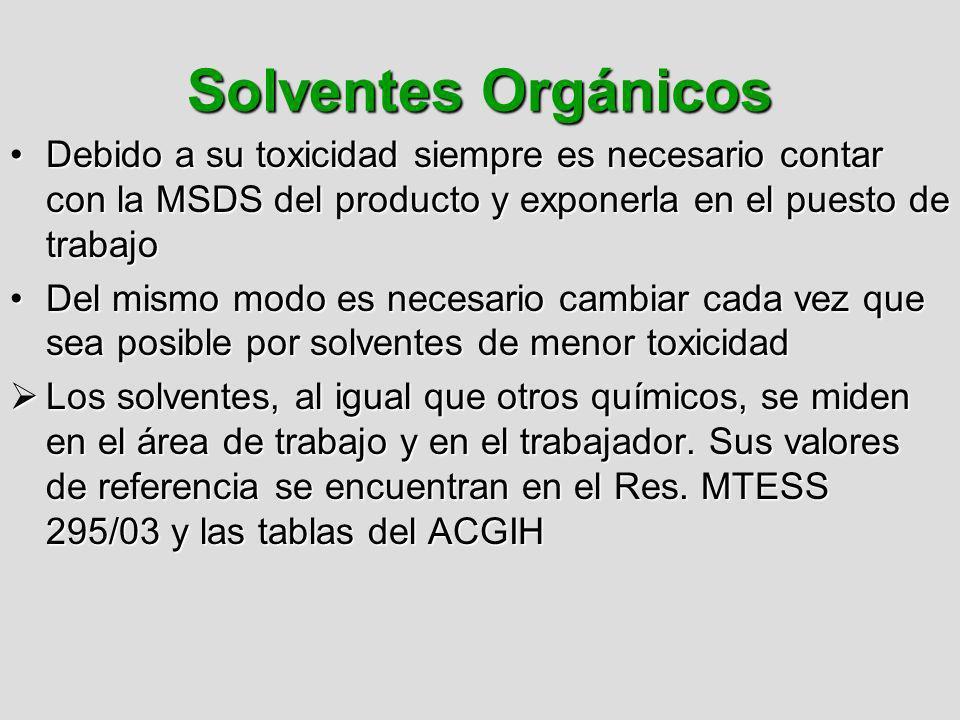 Solventes Orgánicos Debido a su toxicidad siempre es necesario contar con la MSDS del producto y exponerla en el puesto de trabajoDebido a su toxicida
