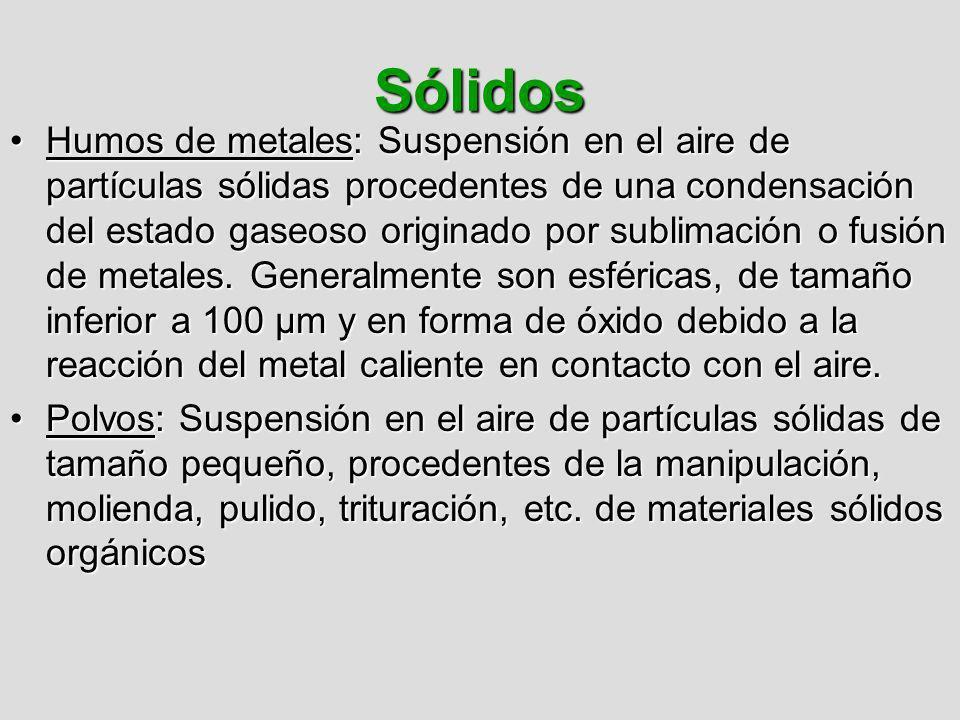 Sólidos Humos de metales: Suspensión en el aire de partículas sólidas procedentes de una condensación del estado gaseoso originado por sublimación o f