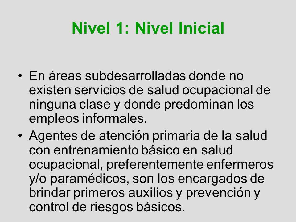 Nivel 1: Nivel Inicial En áreas subdesarrolladas donde no existen servicios de salud ocupacional de ninguna clase y donde predominan los empleos infor