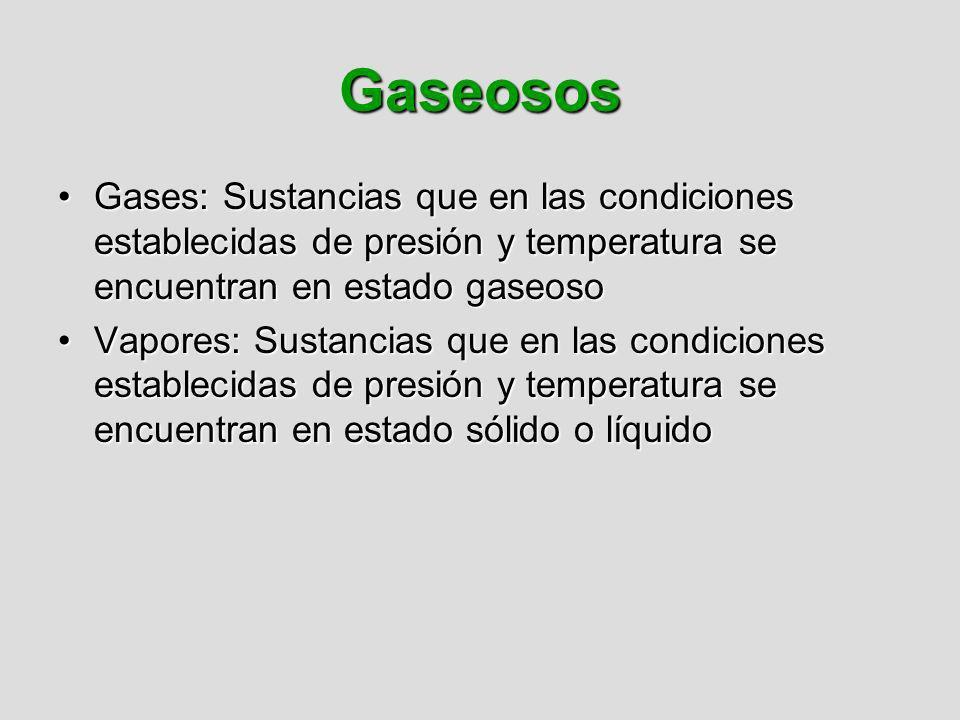 Gaseosos Gases: Sustancias que en las condiciones establecidas de presión y temperatura se encuentran en estado gaseosoGases: Sustancias que en las co