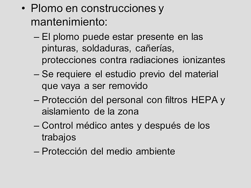 Plomo en construcciones y mantenimiento:Plomo en construcciones y mantenimiento: –El plomo puede estar presente en las pinturas, soldaduras, cañerías,