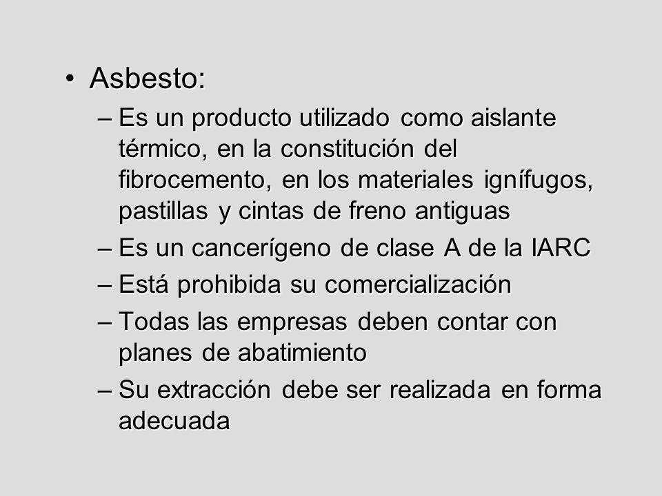 Asbesto:Asbesto: –Es un producto utilizado como aislante térmico, en la constitución del fibrocemento, en los materiales ignífugos, pastillas y cintas