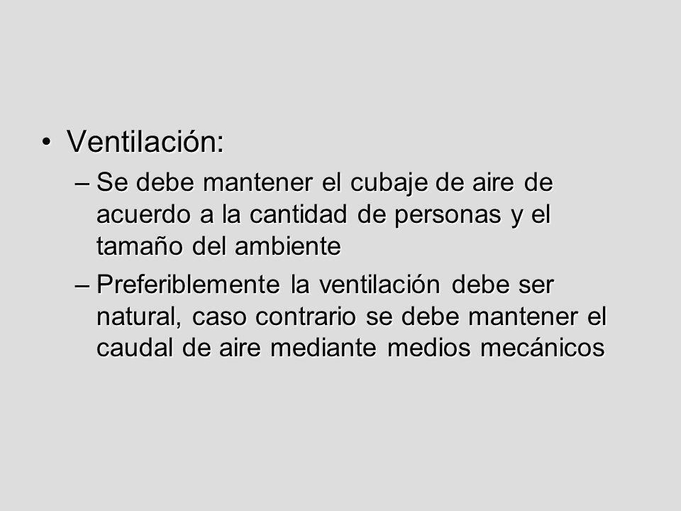 Ventilación:Ventilación: –Se debe mantener el cubaje de aire de acuerdo a la cantidad de personas y el tamaño del ambiente –Preferiblemente la ventila
