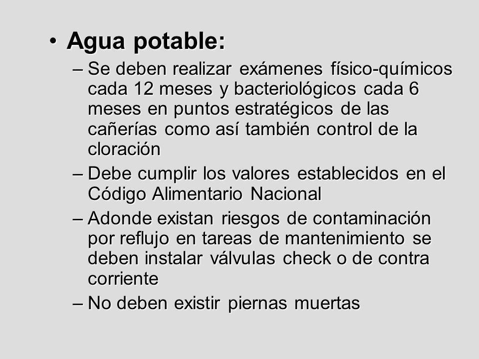 Agua potable:Agua potable: –Se deben realizar exámenes físico-químicos cada 12 meses y bacteriológicos cada 6 meses en puntos estratégicos de las cañe