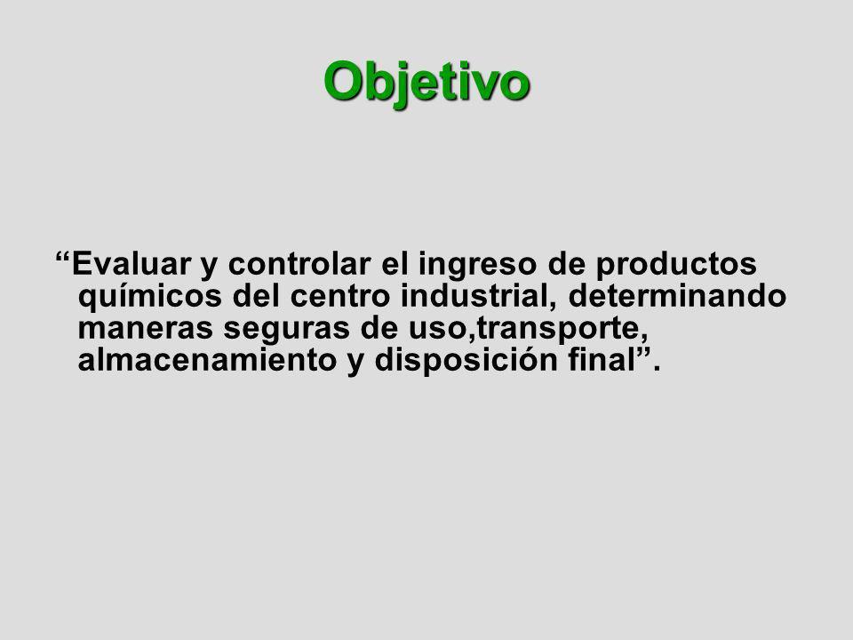 Objetivo Evaluar y controlar el ingreso de productos químicos del centro industrial, determinando maneras seguras de uso,transporte, almacenamiento y