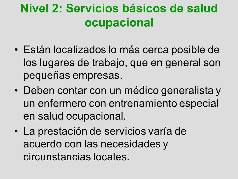 Nivel 2: Servicios básicos de salud ocupacional Están localizados lo más cerca posible de los lugares de trabajo, que en general son pequeñas empresas