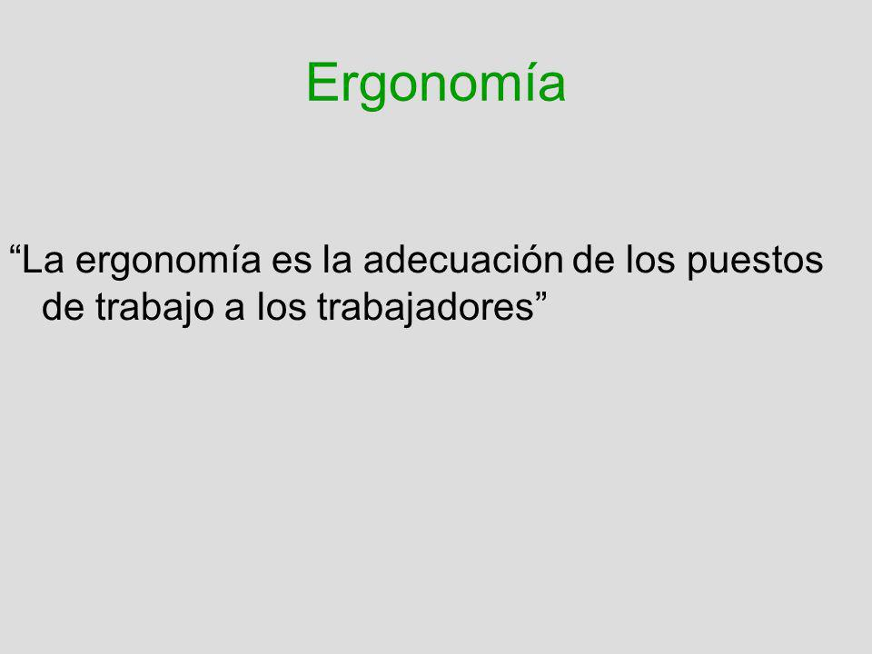 Ergonomía La ergonomía es la adecuación de los puestos de trabajo a los trabajadores