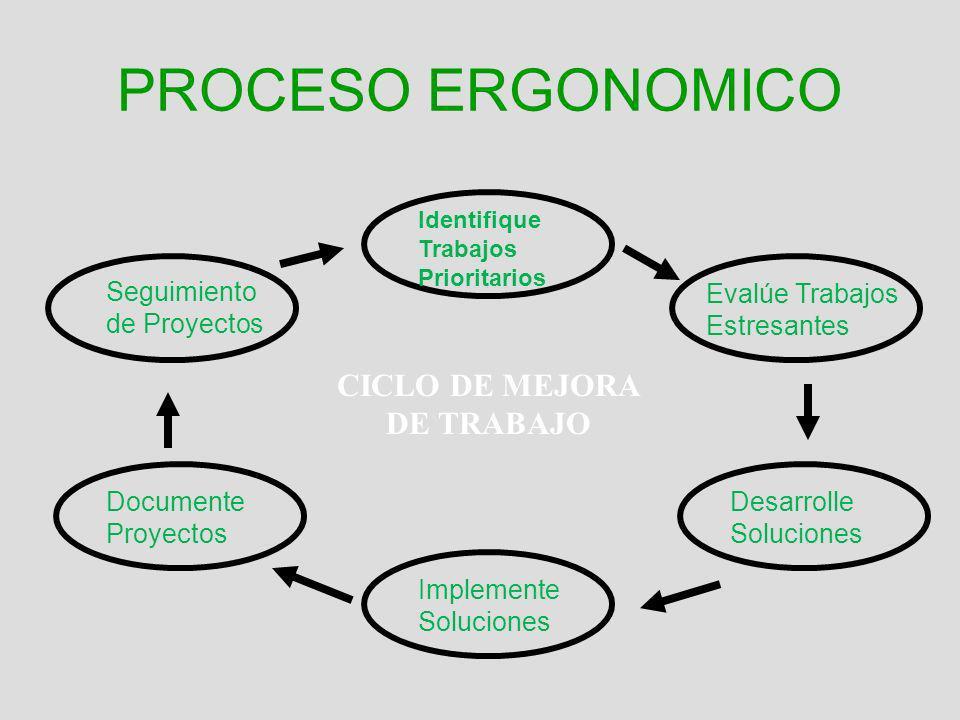 PROCESO ERGONOMICO Identifique Trabajos Prioritarios Evalúe Trabajos Estresantes Desarrolle Soluciones Implemente Soluciones Documente Proyectos Segui