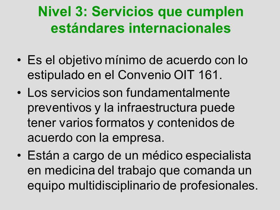 Nivel 4: Servicios complejos de salud ocupacional Se encuentra en las grandes compañías de los países desarrollados o en grandes centros especializados en salud ocupacional.