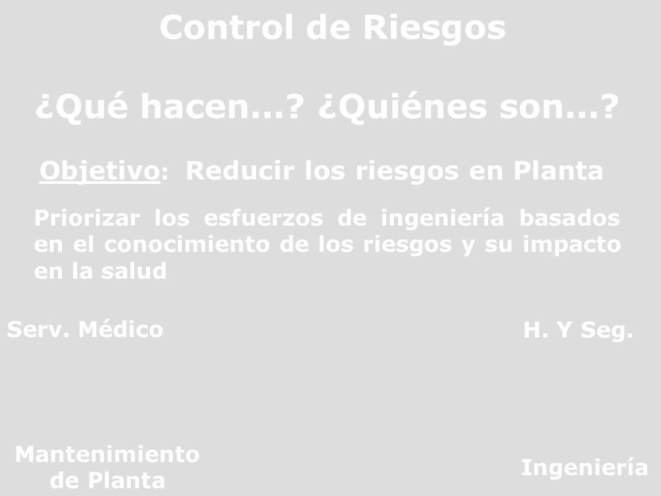 Control de Riesgos ¿Qué hacen...? ¿Quiénes son...? Objetivo : Reducir los riesgos en Planta Priorizar los esfuerzos de ingeniería basados en el conoci