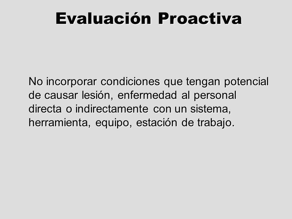 Evaluación Proactiva No incorporar condiciones que tengan potencial de causar lesión, enfermedad al personal directa o indirectamente con un sistema,