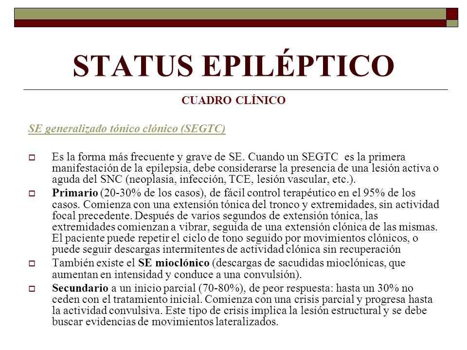 STATUS EPILÉPTICO CUADRO CLÍNICO SE generalizado tónico clónico (SEGTC) Es la forma más frecuente y grave de SE.