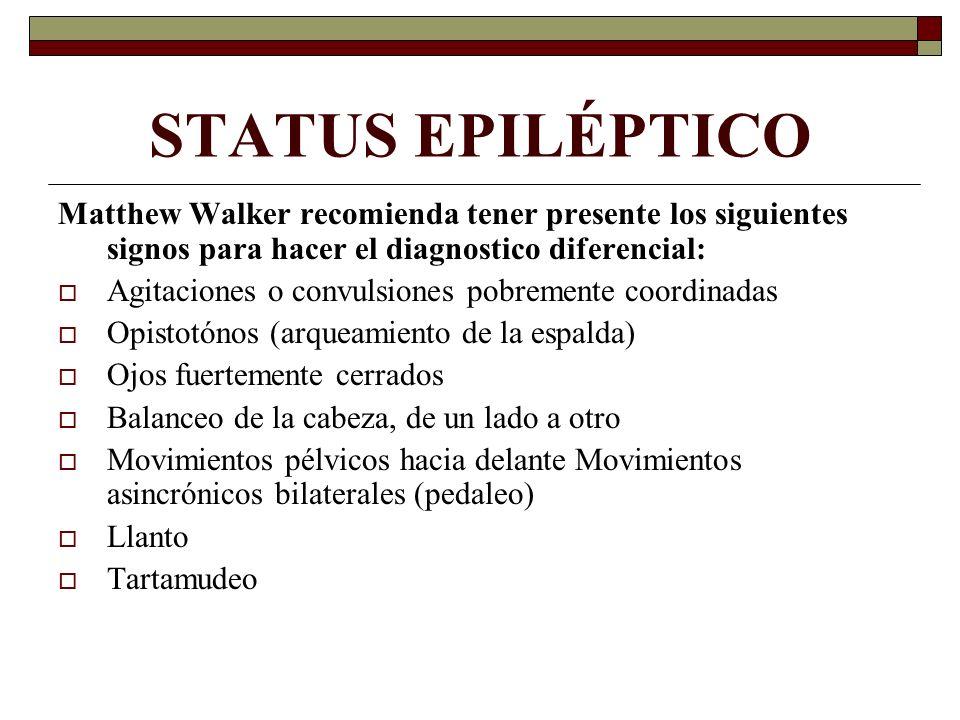 STATUS EPILÉPTICO Matthew Walker recomienda tener presente los siguientes signos para hacer el diagnostico diferencial: Agitaciones o convulsiones pob