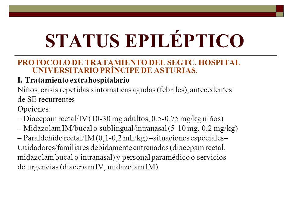 STATUS EPILÉPTICO PROTOCOLO DE TRATAMIENTO DEL SEGTC. HOSPITAL UNIVERSITARIO PRÍNCIPE DE ASTURIAS. I. Tratamiento extrahospitalario Niños, crisis repe