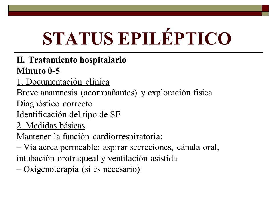 STATUS EPILÉPTICO II. Tratamiento hospitalario Minuto 0-5 1. Documentación clínica Breve anamnesis (acompañantes) y exploración física Diagnóstico cor