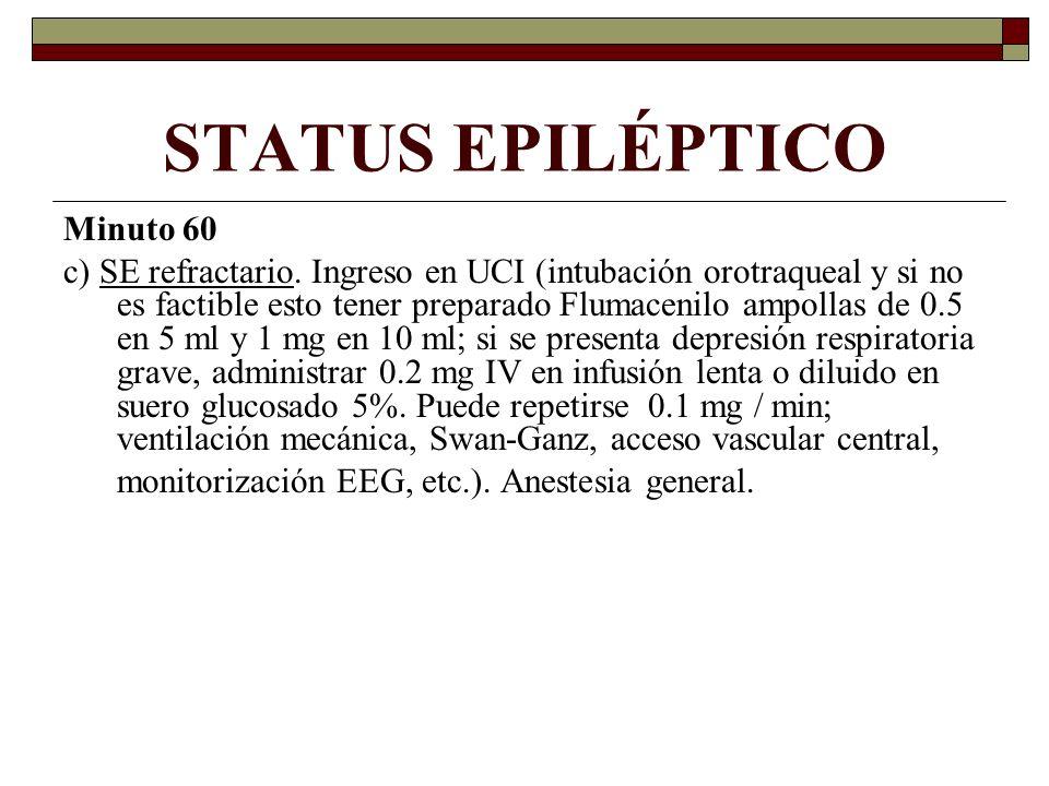 STATUS EPILÉPTICO Minuto 60 c) SE refractario. Ingreso en UCI (intubación orotraqueal y si no es factible esto tener preparado Flumacenilo ampollas de