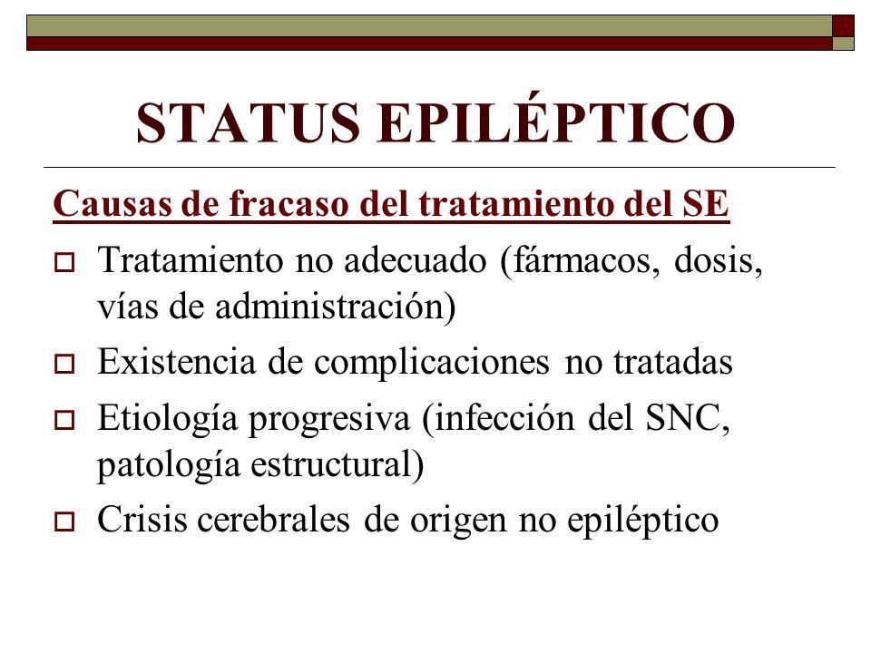 STATUS EPILÉPTICO Causas de fracaso del tratamiento del SE Tratamiento no adecuado (fármacos, dosis, vías de administración) Existencia de complicacio