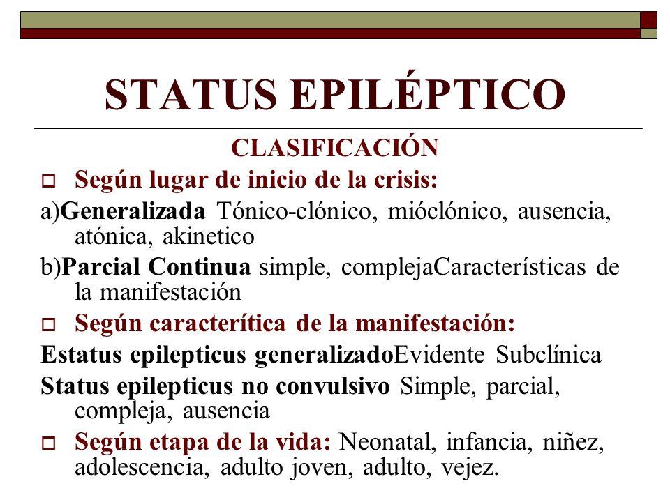 STATUS EPILÉPTICO CLASIFICACIÓN Según lugar de inicio de la crisis: a)Generalizada Tónico-clónico, mióclónico, ausencia, atónica, akinetico b)Parcial