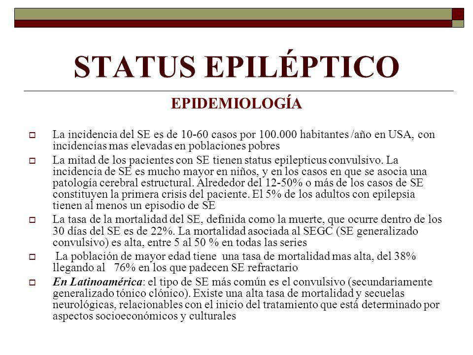 STATUS EPILÉPTICO EPIDEMIOLOGÍA La incidencia del SE es de 10-60 casos por 100.000 habitantes /año en USA, con incidencias mas elevadas en poblaciones pobres La mitad de los pacientes con SE tienen status epilepticus convulsivo.