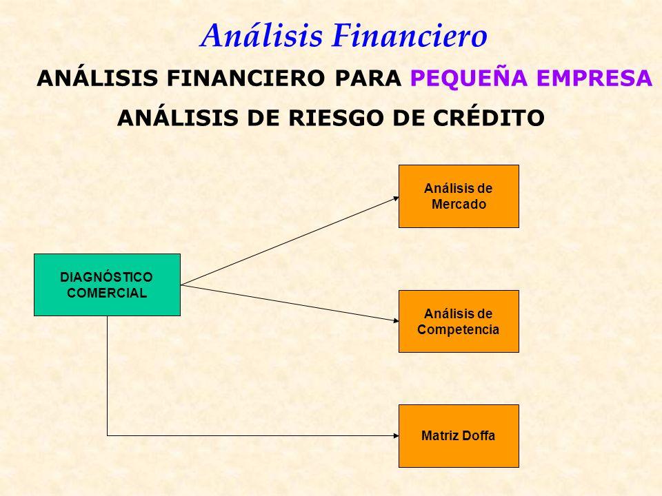 Análisis Financiero ANÁLISIS DE RIESGO DE CRÉDITO DIAGNÓSTICO COMERCIAL Análisis de Mercado Análisis de Competencia Matriz Doffa ANÁLISIS FINANCIERO PARA PEQUEÑA EMPRESA