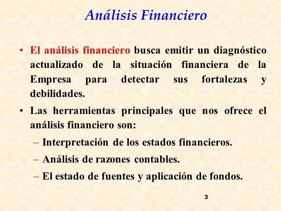 Análisis Financiero 3 El análisis financiero busca emitir un diagnóstico actualizado de la situación financiera de la Empresa para detectar sus fortalezas y debilidades.