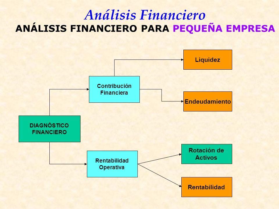 Análisis Financiero DIAGNÓSTICO FINANCIERO Contribución Financiera Rentabilidad Operativa Liquidez Rotación de Activos Endeudamiento Rentabilidad ANÁLISIS FINANCIERO PARA PEQUEÑA EMPRESA