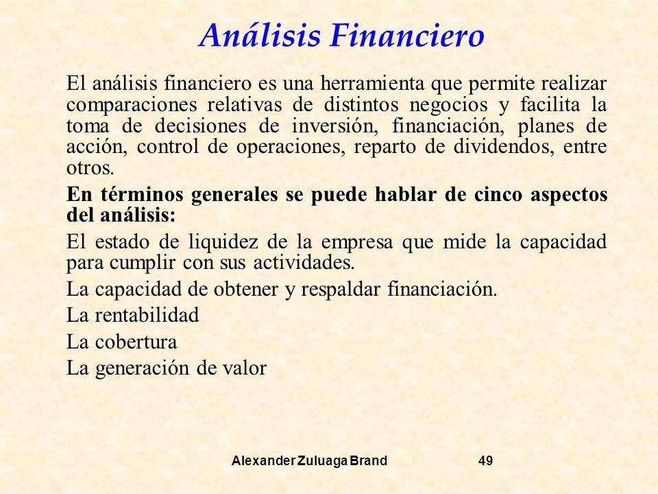 Análisis Financiero Alexander Zuluaga Brand49 El análisis financiero es una herramienta que permite realizar comparaciones relativas de distintos negocios y facilita la toma de decisiones de inversión, financiación, planes de acción, control de operaciones, reparto de dividendos, entre otros.