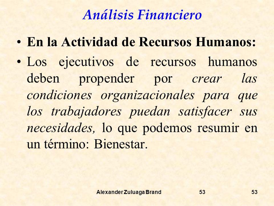 Análisis Financiero Alexander Zuluaga Brand53 En la Actividad de Recursos Humanos: Los ejecutivos de recursos humanos deben propender por crear las condiciones organizacionales para que los trabajadores puedan satisfacer sus necesidades, lo que podemos resumir en un término: Bienestar.