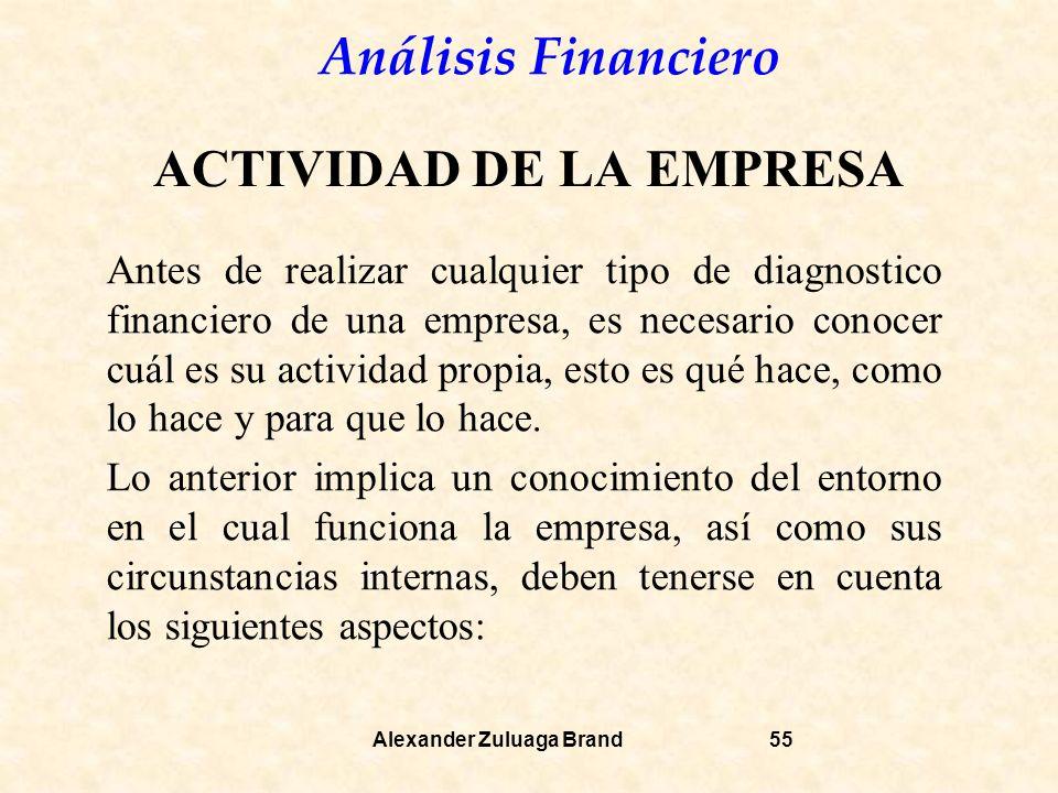 Análisis Financiero Alexander Zuluaga Brand55 ACTIVIDAD DE LA EMPRESA Antes de realizar cualquier tipo de diagnostico financiero de una empresa, es necesario conocer cuál es su actividad propia, esto es qué hace, como lo hace y para que lo hace.