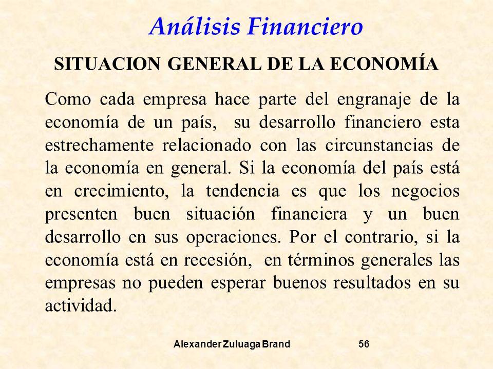 Análisis Financiero Alexander Zuluaga Brand56 SITUACION GENERAL DE LA ECONOMÍA Como cada empresa hace parte del engranaje de la economía de un país, su desarrollo financiero esta estrechamente relacionado con las circunstancias de la economía en general.