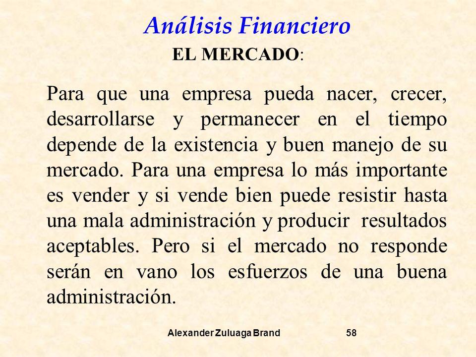 Análisis Financiero Alexander Zuluaga Brand58 EL MERCADO: Para que una empresa pueda nacer, crecer, desarrollarse y permanecer en el tiempo depende de la existencia y buen manejo de su mercado.