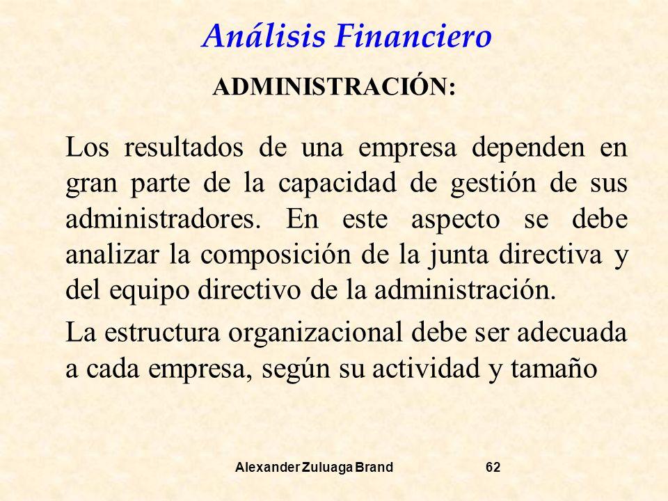 Análisis Financiero Alexander Zuluaga Brand62 ADMINISTRACIÓN: Los resultados de una empresa dependen en gran parte de la capacidad de gestión de sus administradores.