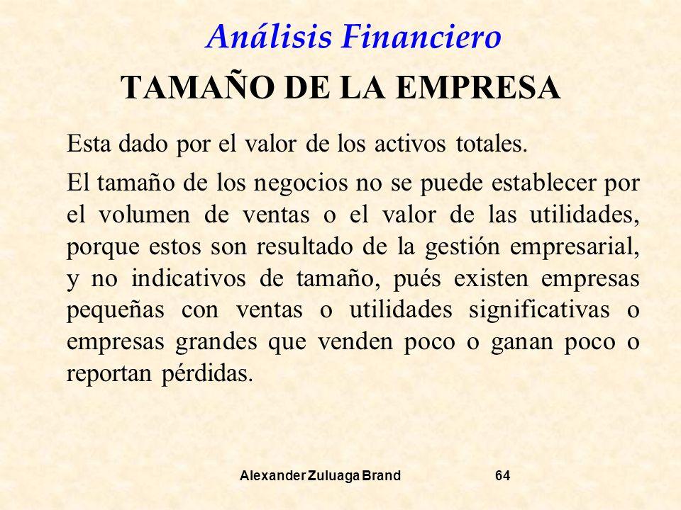 Análisis Financiero Alexander Zuluaga Brand64 TAMAÑO DE LA EMPRESA Esta dado por el valor de los activos totales.