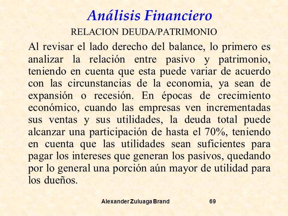 Análisis Financiero Alexander Zuluaga Brand69 RELACION DEUDA/PATRIMONIO Al revisar el lado derecho del balance, lo primero es analizar la relación entre pasivo y patrimonio, teniendo en cuenta que esta puede variar de acuerdo con las circunstancias de la economia, ya sean de expansión o recesión.