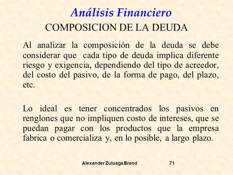Análisis Financiero Alexander Zuluaga Brand71 COMPOSICION DE LA DEUDA Al analizar la composición de la deuda se debe considerar que cada tipo de deuda implica diferente riesgo y exigencia, dependiendo del tipo de acreedor, del costo del pasivo, de la forma de pago, del plazo, etc.