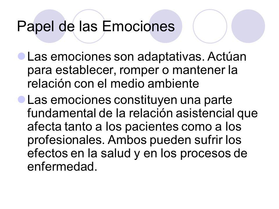 Papel de las Emociones Las emociones son adaptativas. Actúan para establecer, romper o mantener la relación con el medio ambiente Las emociones consti