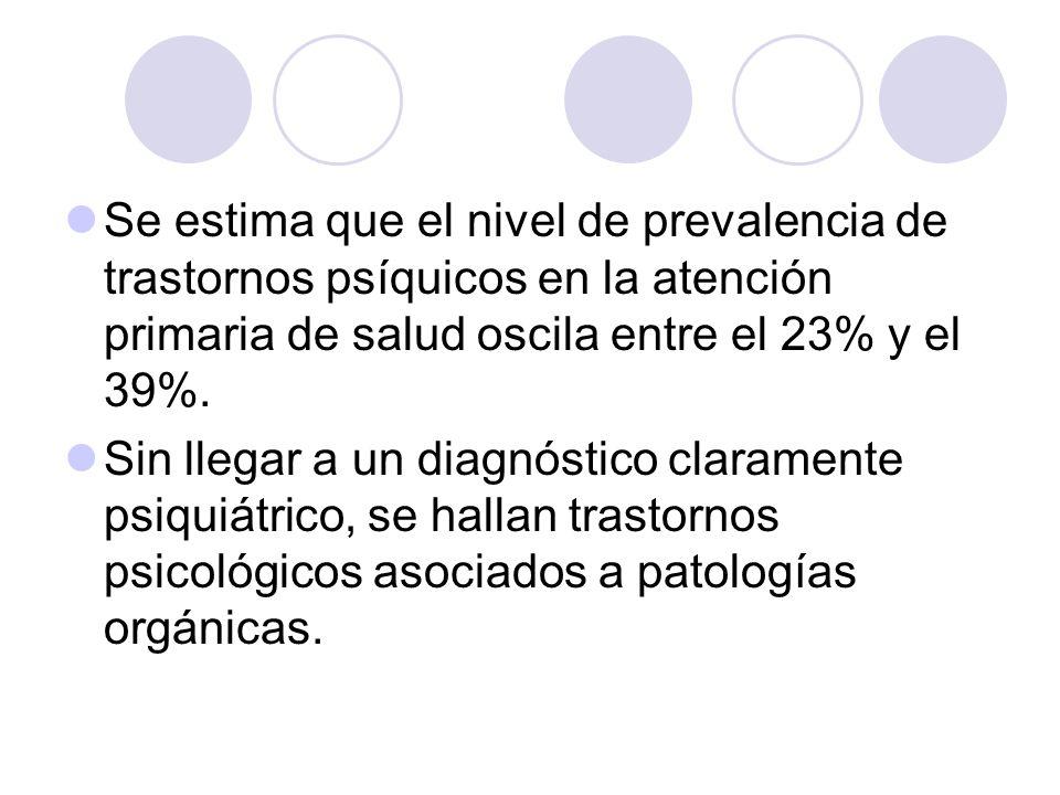 Se estima que el nivel de prevalencia de trastornos psíquicos en la atención primaria de salud oscila entre el 23% y el 39%. Sin llegar a un diagnósti