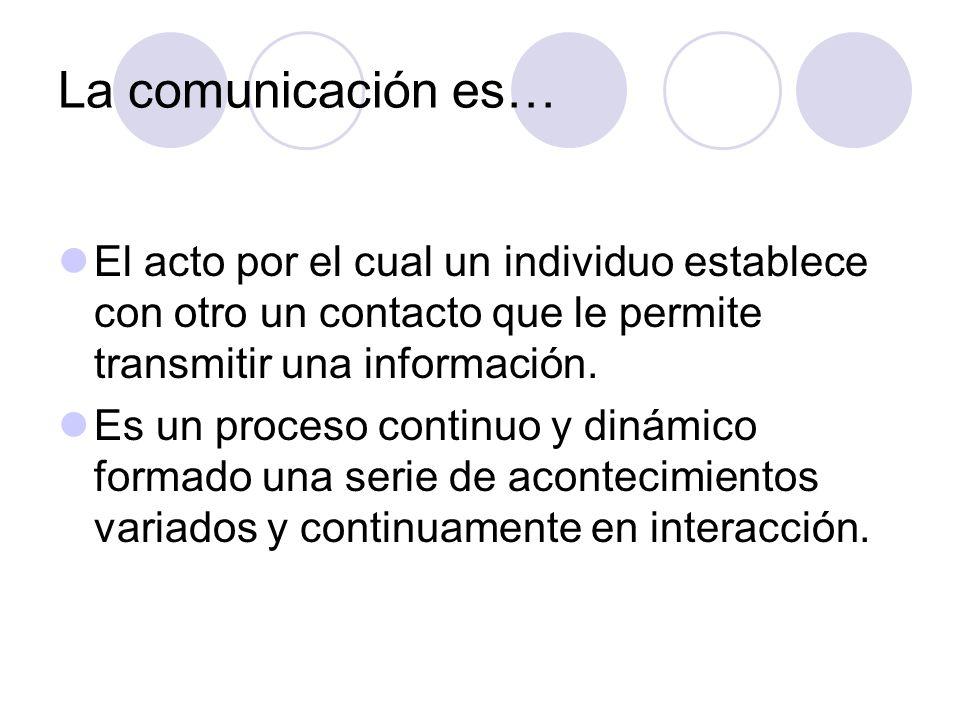 La comunicación es… El acto por el cual un individuo establece con otro un contacto que le permite transmitir una información. Es un proceso continuo