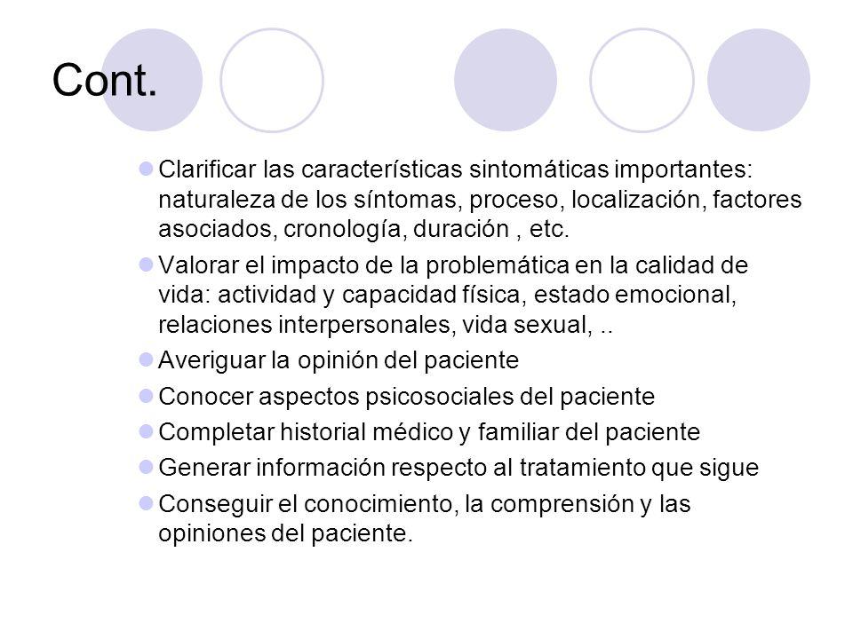 Cont. Clarificar las características sintomáticas importantes: naturaleza de los síntomas, proceso, localización, factores asociados, cronología, dura