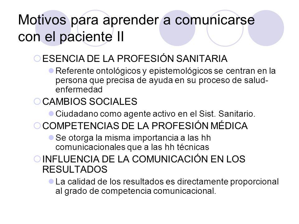 Motivos para aprender a comunicarse con el paciente II ESENCIA DE LA PROFESIÓN SANITARIA Referente ontológicos y epistemológicos se centran en la pers