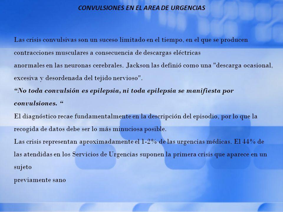 CONVULSIONES EN EL AREA DE URGENCIAS Se seguirá un proceso escalonado: 1.