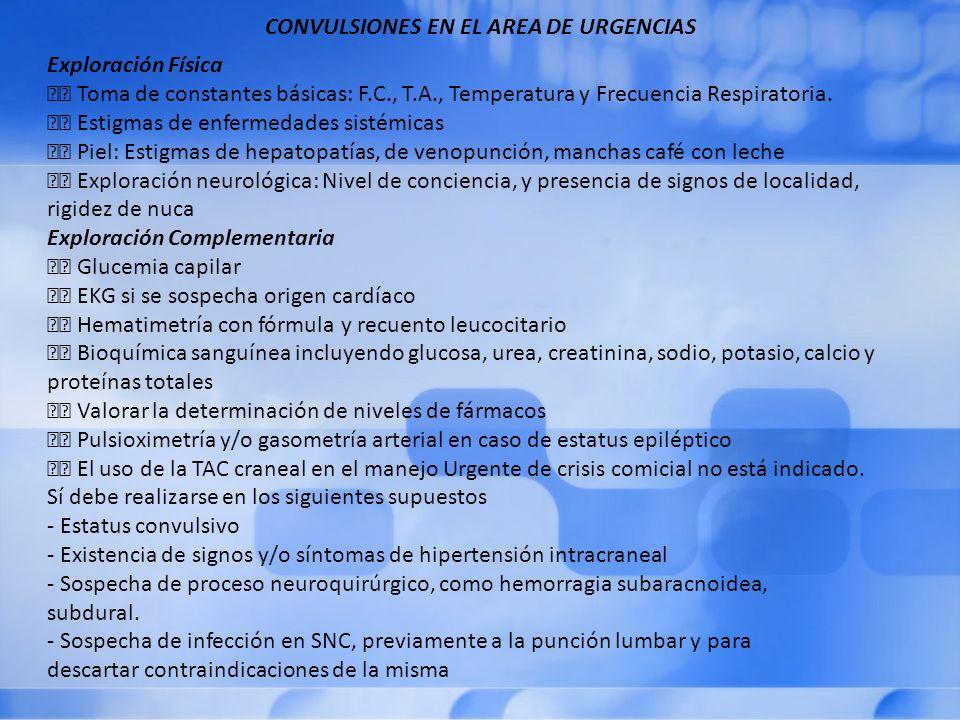 CONVULSIONES EN EL AREA DE URGENCIAS Exploración Física Toma de constantes básicas: F.C., T.A., Temperatura y Frecuencia Respiratoria.